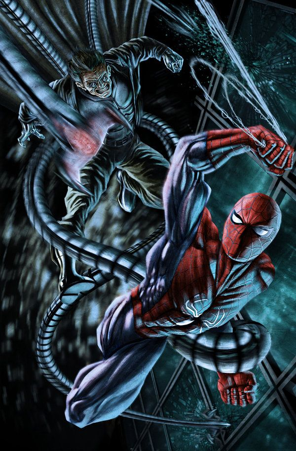 #Spiderman #Fan #Art. (Spiderman vs Dc.Ock) By: Illustr8now. (THE * 5 * STÅR * ÅWARD * OF: * AW YEAH, IT'S MAJOR ÅWESOMENESS!!!™)[THANK Ü 4 PINNING!!!<·><]<©>ÅÅÅ+(OB4E)