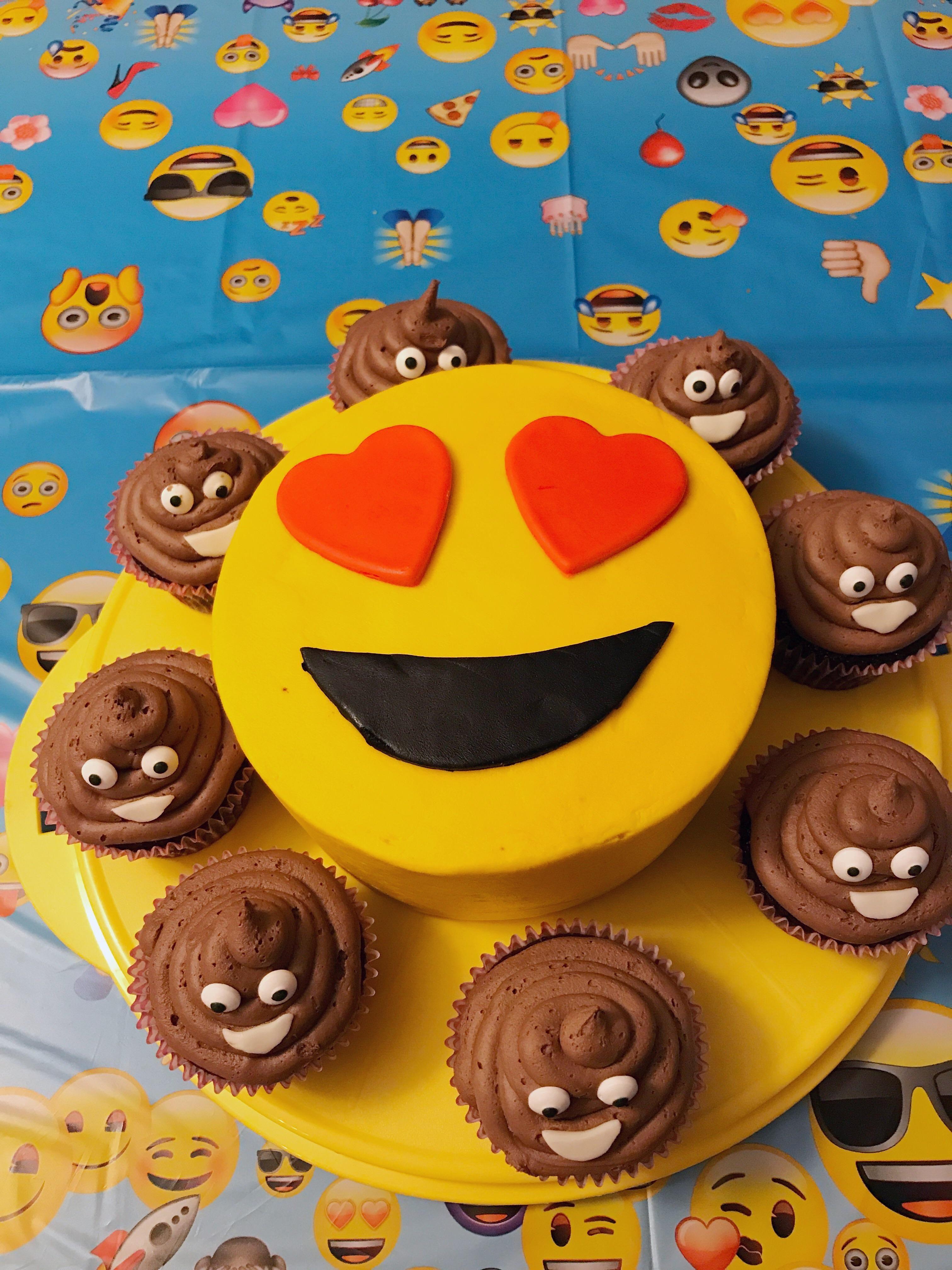 Homemade] Emoji cake with chocolate ice cream emoji cupcakes ...