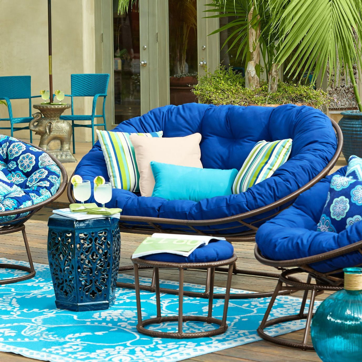 Cabana Cobalt Double Papasan Cushion Blue Products Pinterest