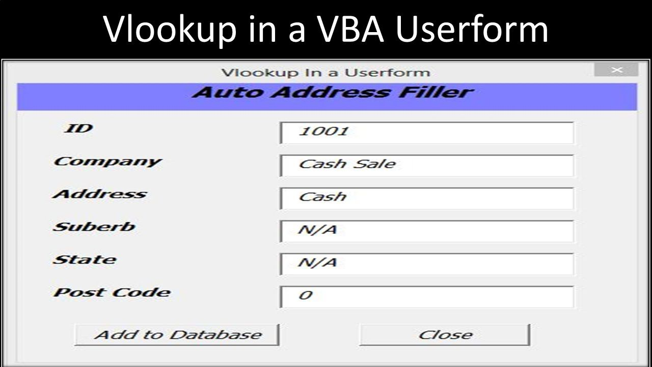 Excel VBA Userform with Vlookup   EXCEL   Map, Dating