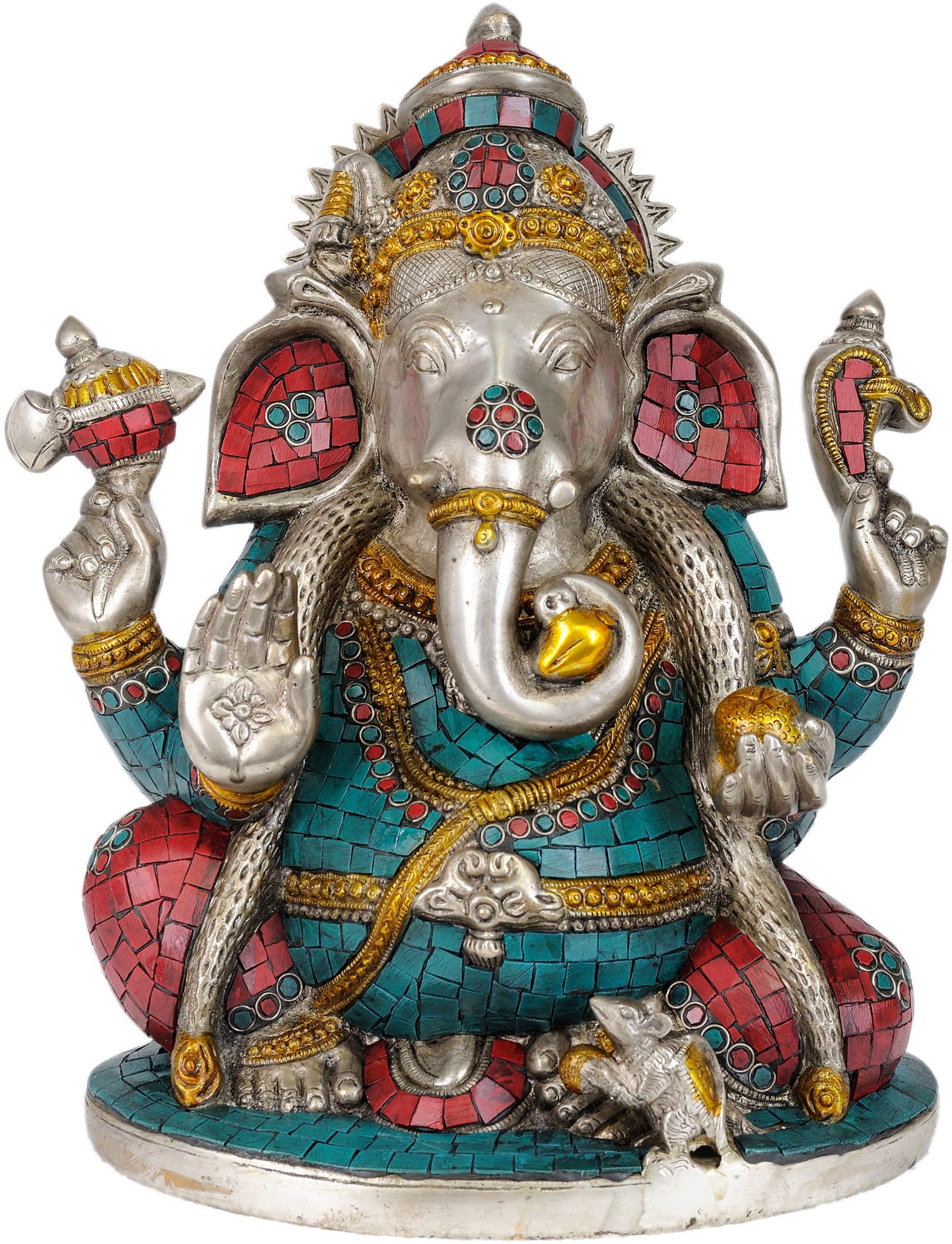 Lambodara Ganesha in Silver Hue with Coral and Turquoise Color Inlay |  Brass statues, Ganesha, Turquoise color