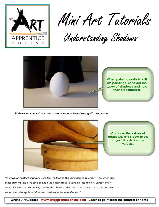 Mini Art Tutorials - Understanding Shadows from Art Apprentice Online www.artapprenticeonline.com #painting shadows #art theory #learn painting