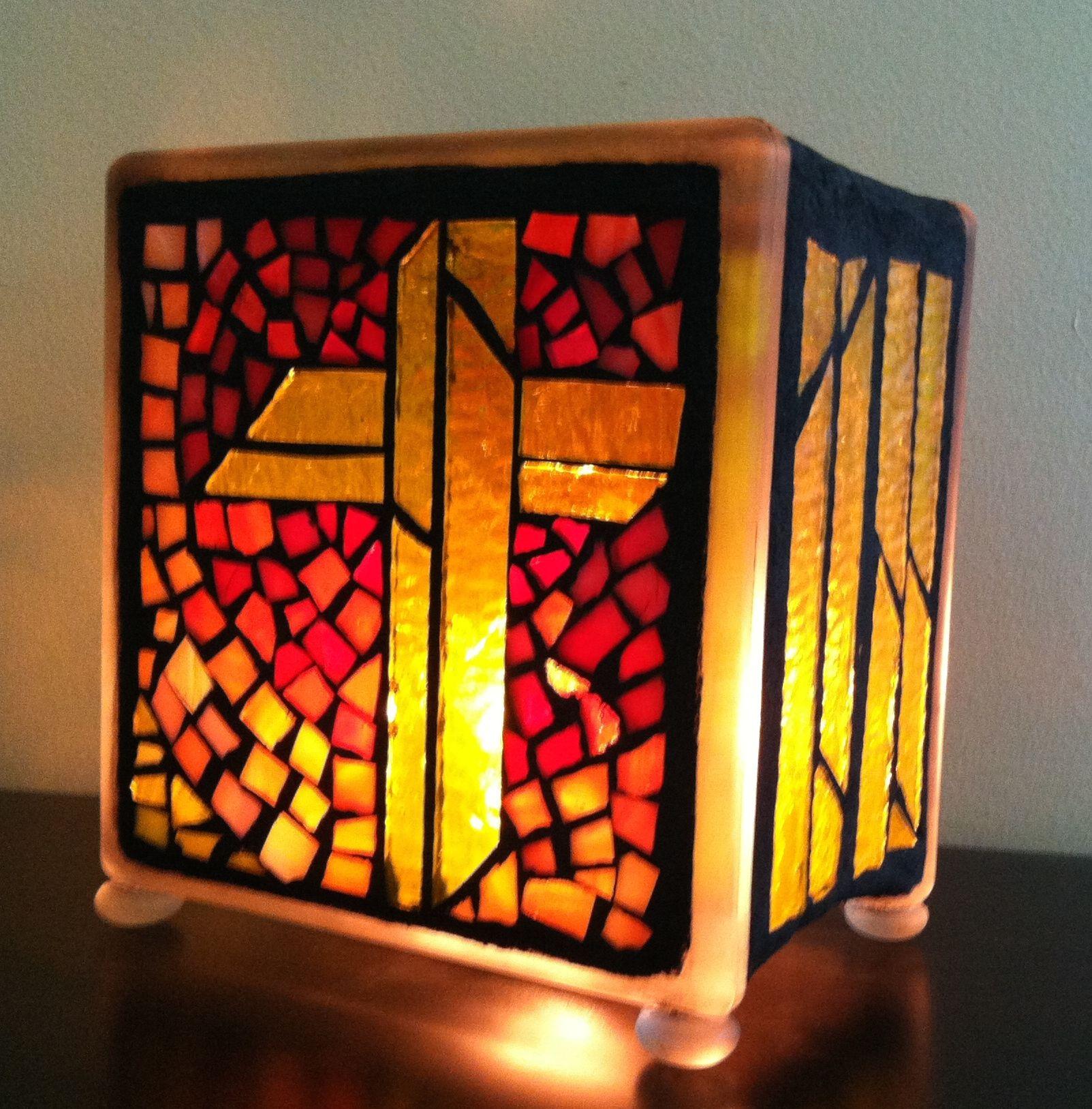 Mosaic glass block night light