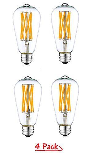 Lussuoso Lighting 12 Watt Edison Style Vintage Led Filament Light Bulb 3200k Soft White 600lm E26 Medium Base Lamp A Filament Bulb Lighting Light Bulb Lighting