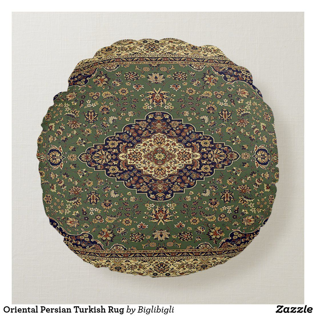 Oriental Persian Turkish Rug Round Pillow