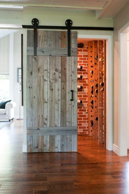 Hidden And Transitional Wine Cellar By Angela Flournoy Barn Style Doors Cellar Design Barn Doors Sliding