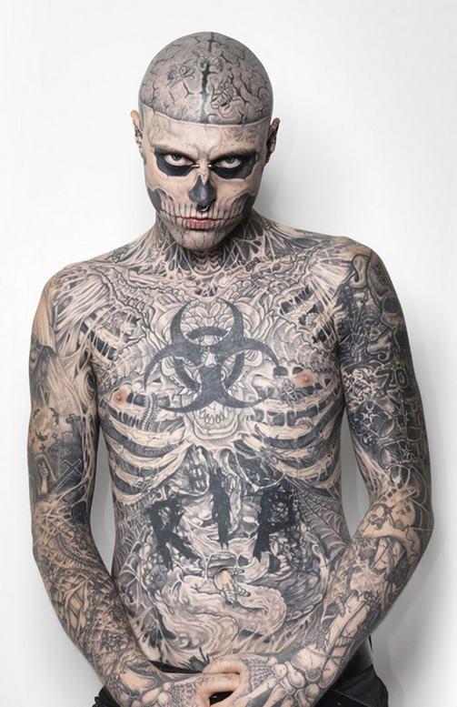 Maailman Tatuoiduin Malli On Kuin Madantyva Ruumis Katso Kuvat Rick Genest Boy Tattoos Zombie Tattoos