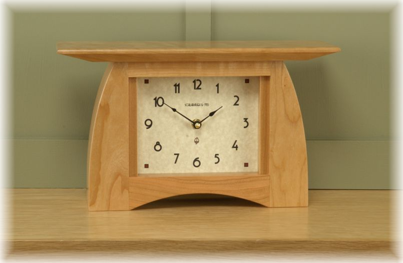 Arts and Crafts Mantel Clock. Solid cherry with natural finish. 12.5 ...