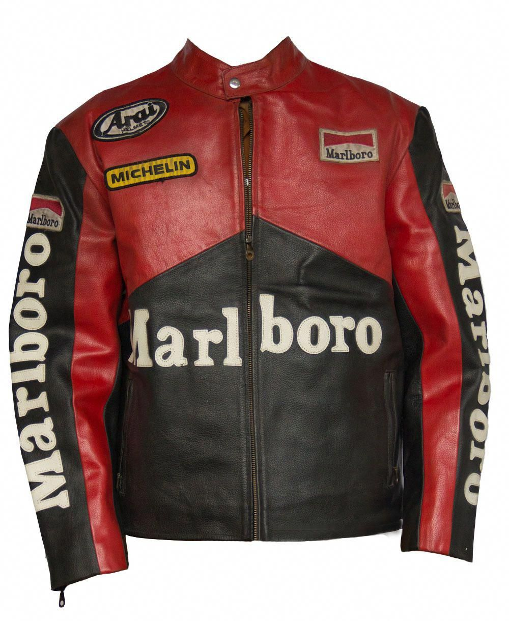 Men Marlboro Racing Motorcycle Jacket Leather Red And Black Safety Protection Lead Style Leatherjacketsformengreen Giacca Di Pelle Giacca Outfit