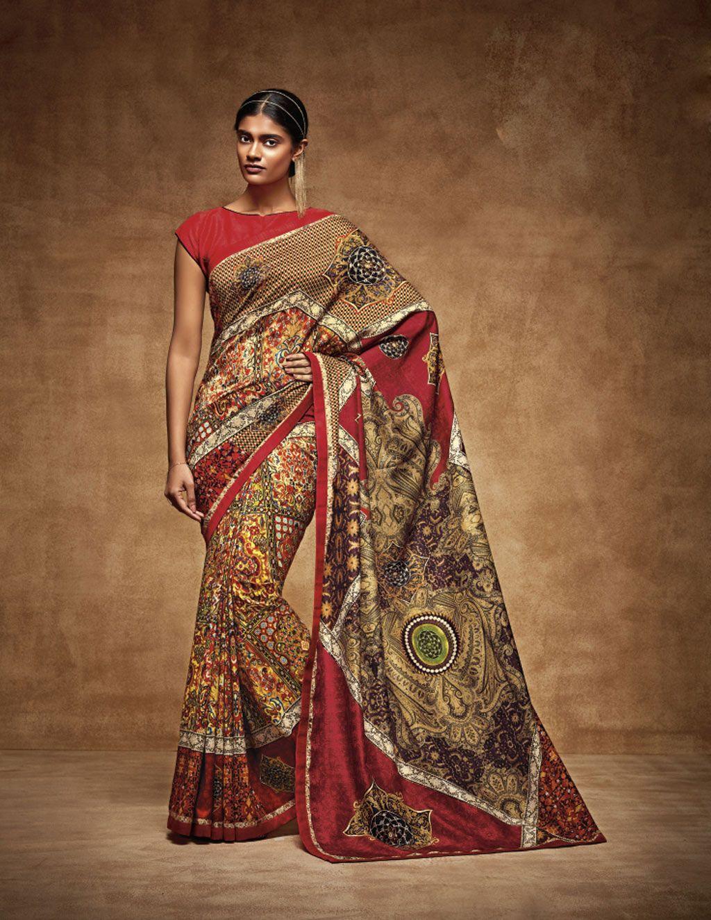 Design of saree blouse red tussar art silk printed saree with blouse   fashion