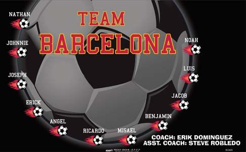 Team Barcelona B53805  digitally printed vinyl soccer sports team banner. Made in the USA and shipped fast by BannersUSA.  You can easily create a similar banner using our Live Designer where you can manipulate ALL of the elements of ANY template.  You can change colors, add/change/remove text and graphics and resize the elements of your design, making it completely your own creation.