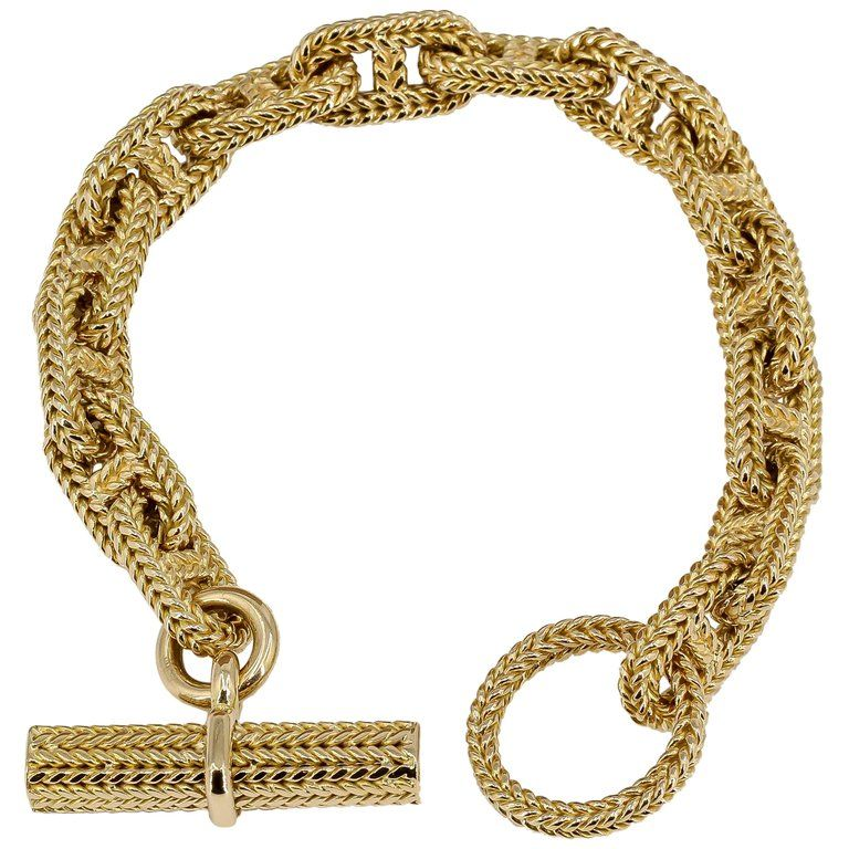 Hermes George L Enfant Yellow Gold Chaine D Ancre Tresse Braided Link Bracelet Gold Link Bracelet Link Bracelets Hermes Jewelry