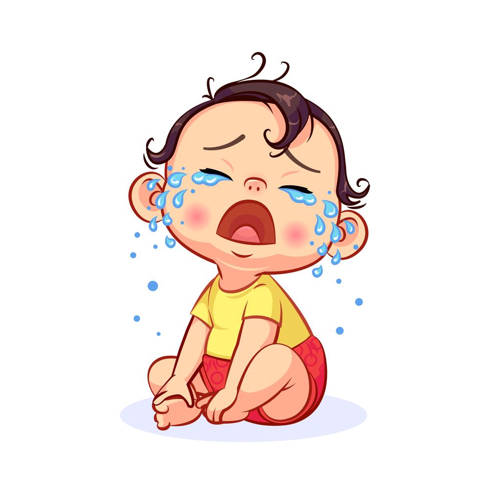 Cartoon Sitting Crying Little Baby Boy Crying Cartoon Kids Cartoon Characters Baby Illustration