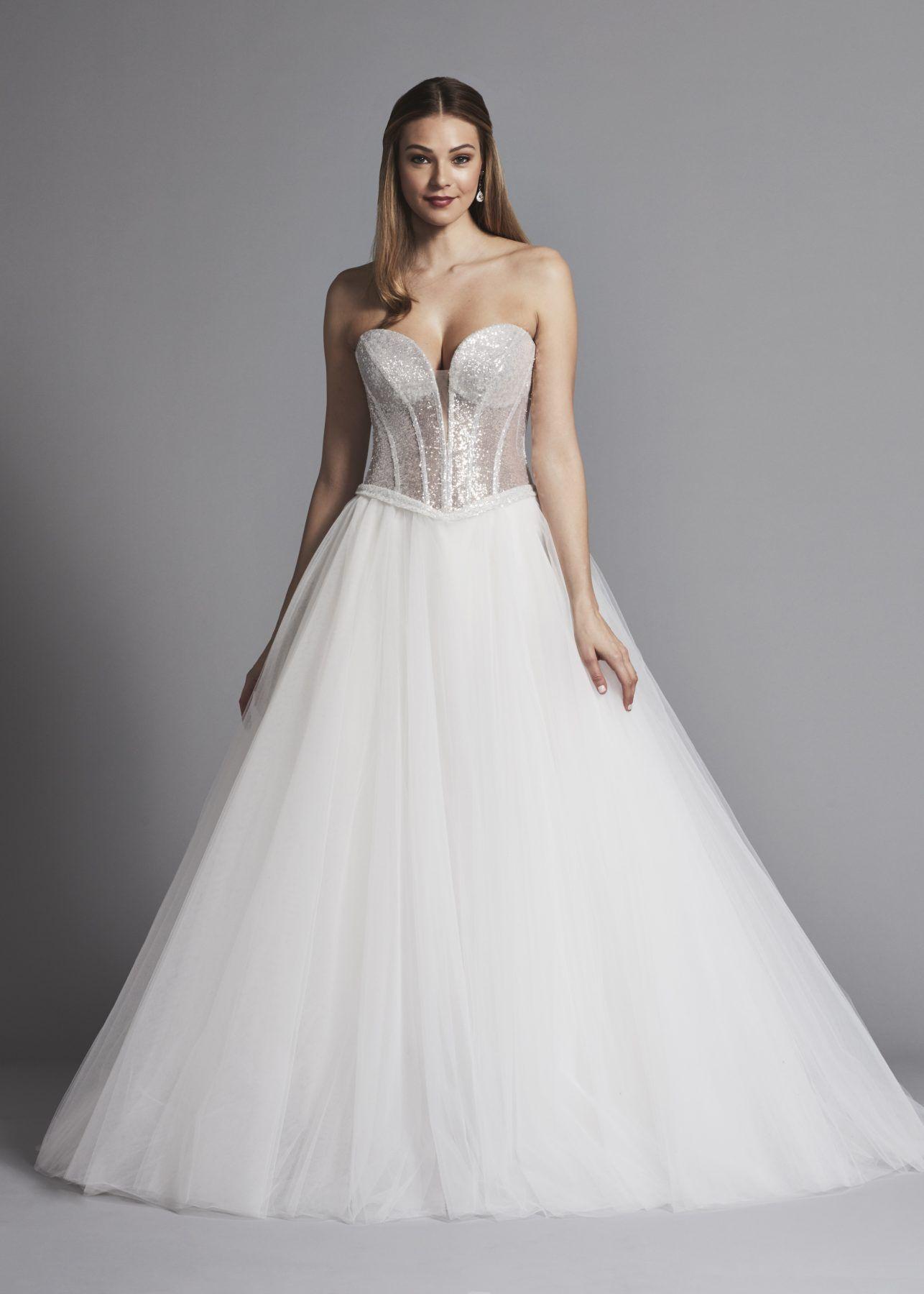 Glitter strapless ball gown wedding dress with tulle skirt