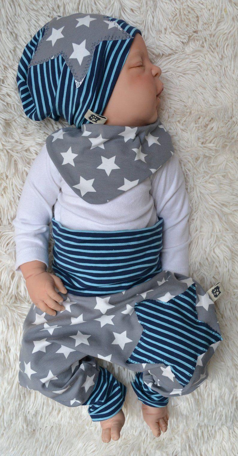 Baby Set Pumphose Halstuch Gr.: 50//56 bis 86 Geschenk Junge Beanie-Mütze