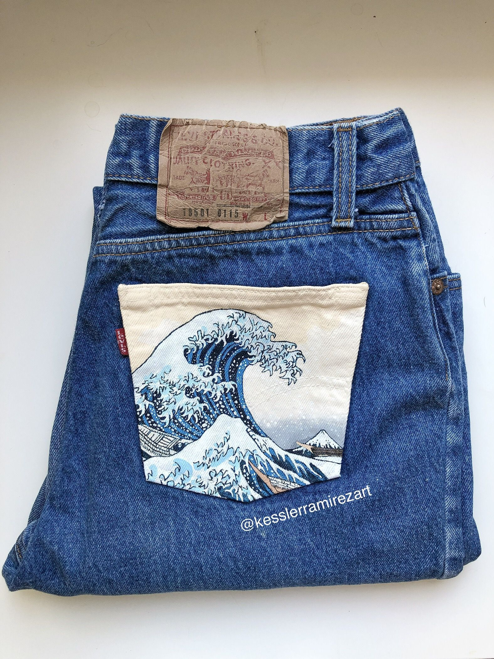 The Great Wave painted jeans by Kessler Ramirez Art- Custom order of The Great Wave Off Kanagawa by Hokusai painted on vintage Levi's by Kessler.  painted jeans, painted denim, painted fabric, denim art, denim painting, pocket painting, jeans pocket, jeans painting Best Picture For  fabric painting sunflower  For Your Taste You are looking for something, and it is going to tell you exactly what you are looking for, and you didn't find that picture. Here you will find the most beautiful picture