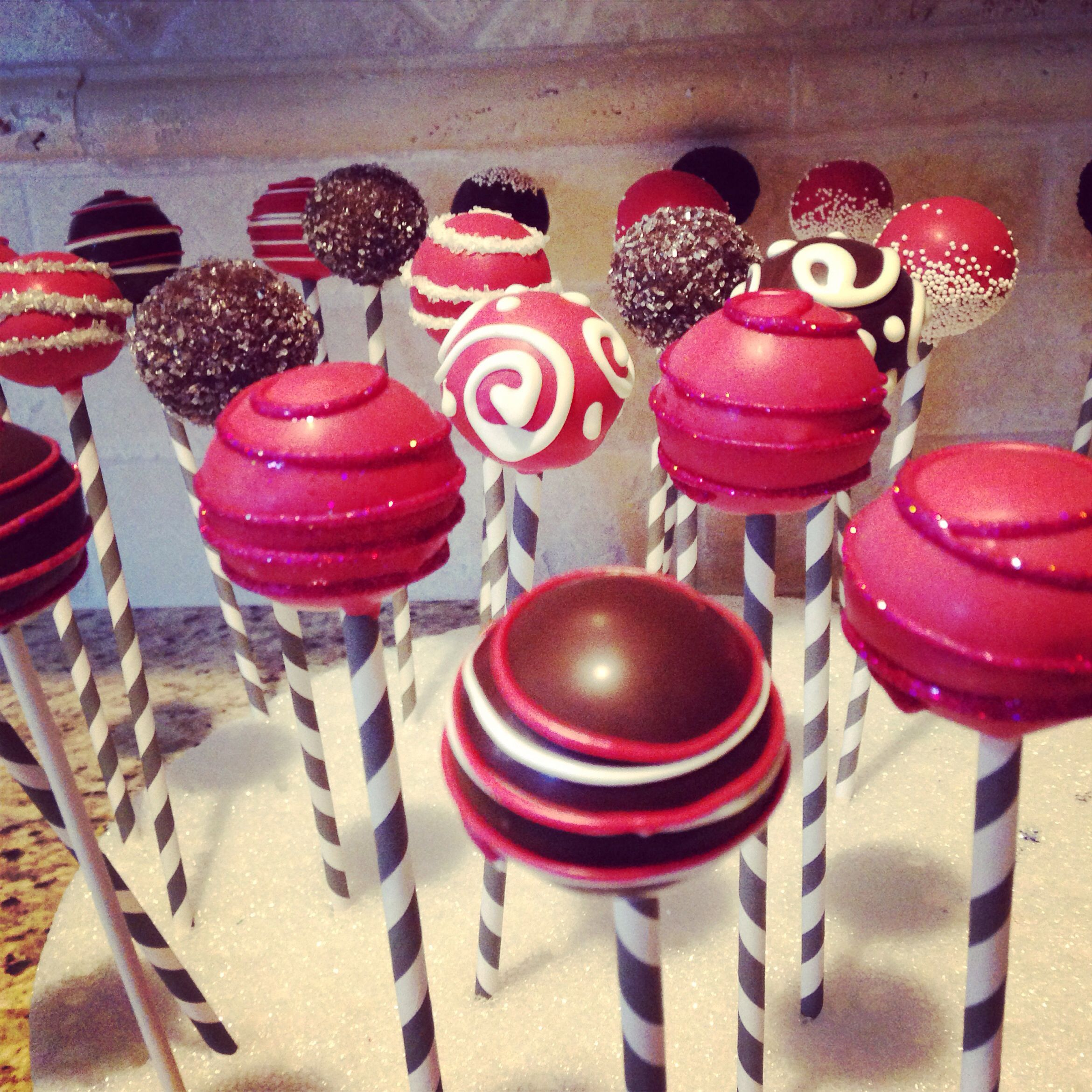 Red velvet cake pops decorated with brown burgundy white and silver ...