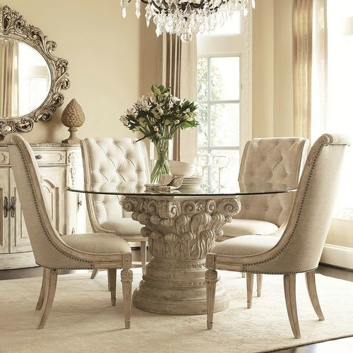 Classic Round Glass Top Dining Table Luxury Glass Table Set Glass Round Dining Table Round Dining Room Round Dining Room Sets