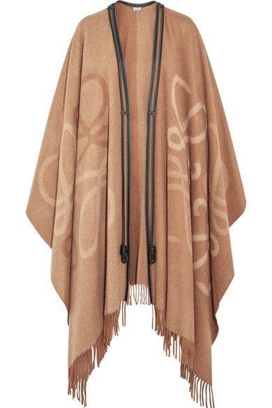 Brown beige reversible poncho