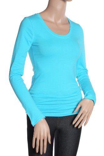 Active Basic Women's Basic Scoop Neck Tops,Small,Aqua ...