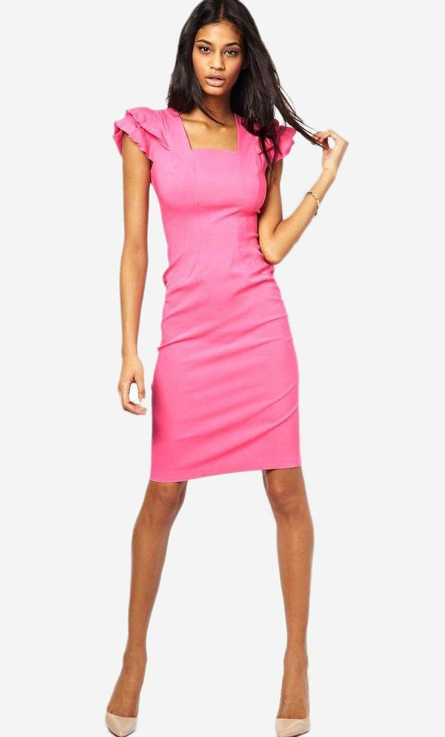 82c963c237b7 Made from a breathable knitted fabric. Box neckline. Layered frill shoulders.  Zip back. Body-Consciou.