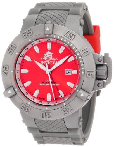 Invicta Men's 1587 Subaqua Noma III Red Dial Grey Polyurethane Watch Invicta. $218.99. Red dial with silver tone hands and hour markers; luminous; white inner bezel; unidirectional matte stainless steel outer bezel; screw-down crown and protective clasp; limited edition. Swiss quartz movement. Flame-fusion crystal; matte stainless steel case; grey polyurethane strap with red accented loops. Water-resistant to 500 M (1640 feet). Date function. Save 89% Off!