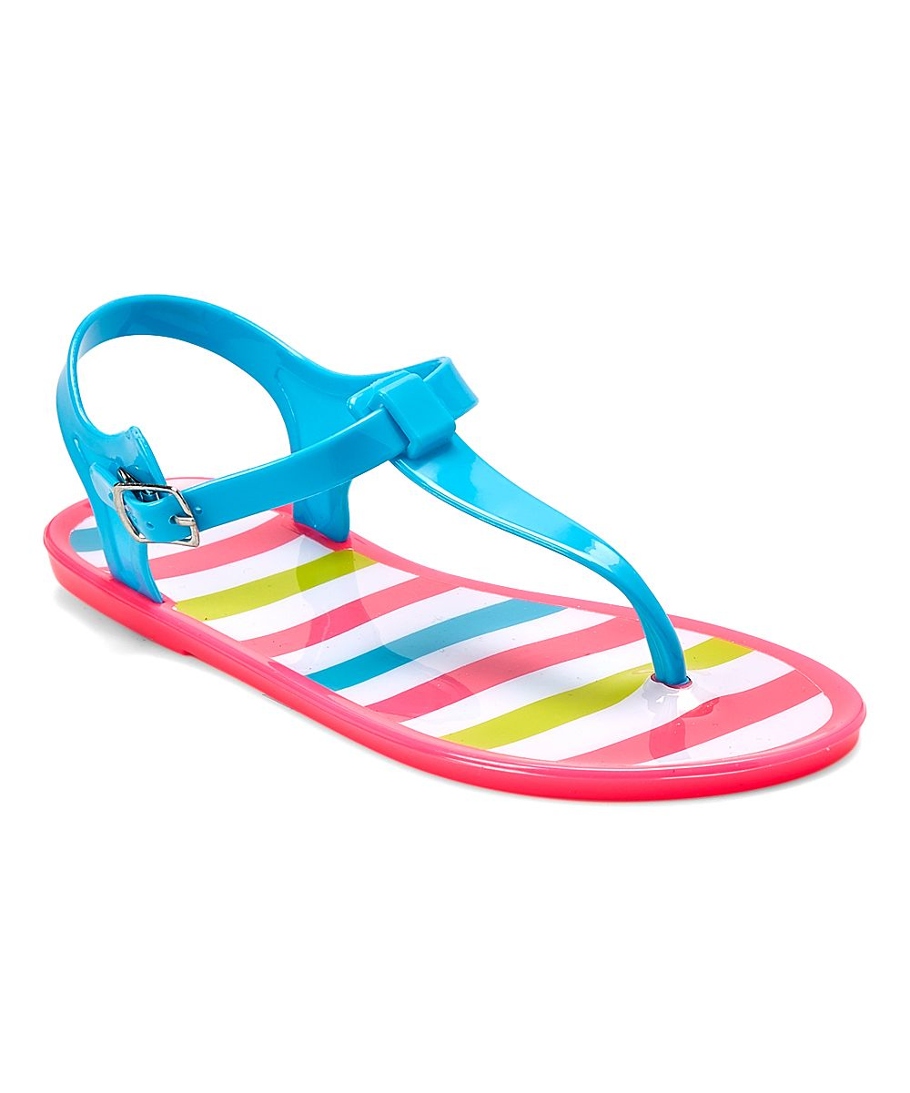 e7ef3527d Chatties Fuchsia   Turquoise Stripe Jelly T-Strap Sandal