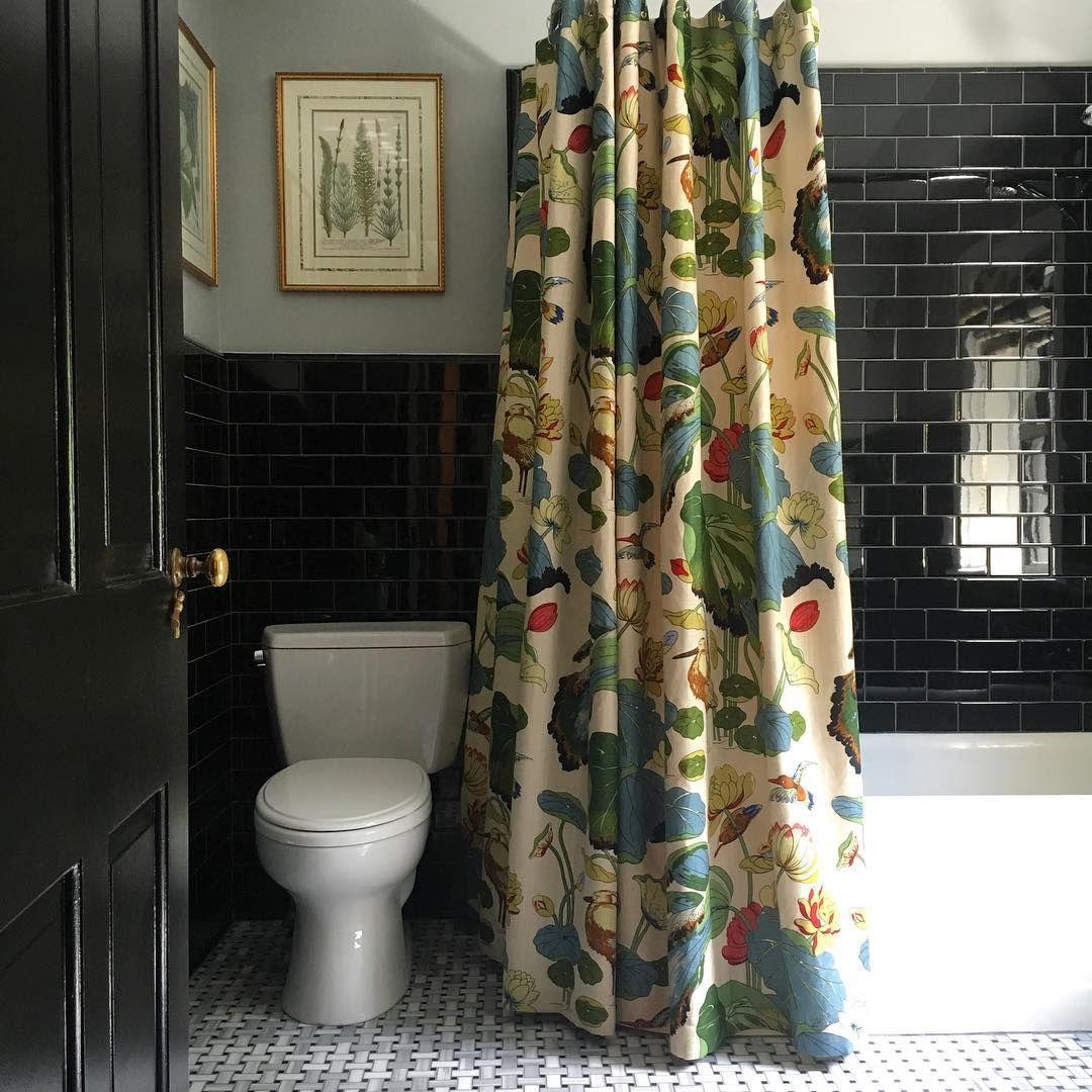 Striking Guest Bathroom With Black Subway Tile Botanical Prints Gp J Nympheus Fabric Shower Black Shower Curtains Unique Shower Curtain Pink Shower Curtains