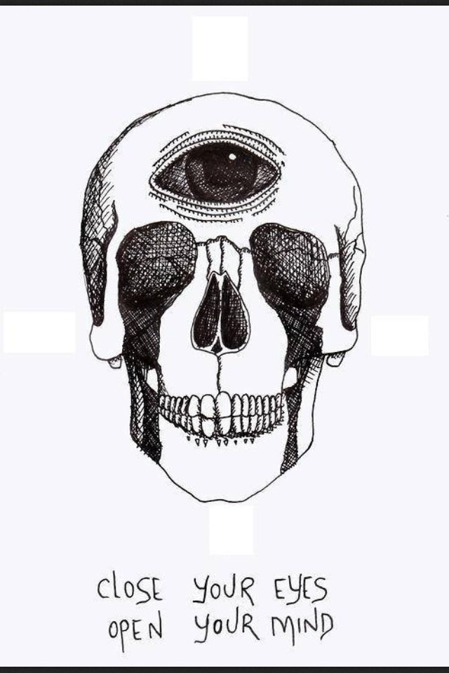 Close your eyes, open your mind skull t-shirt or tank -- american apparel
