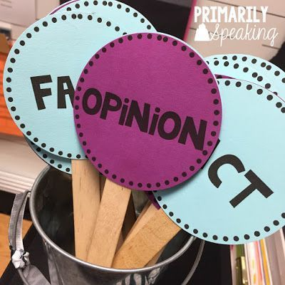 Use fact and opinion paddles to check for understanding. FREE labels!