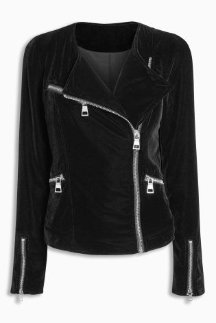 Buy Black Velvet Biker Jacket from the Next UK online shop ...