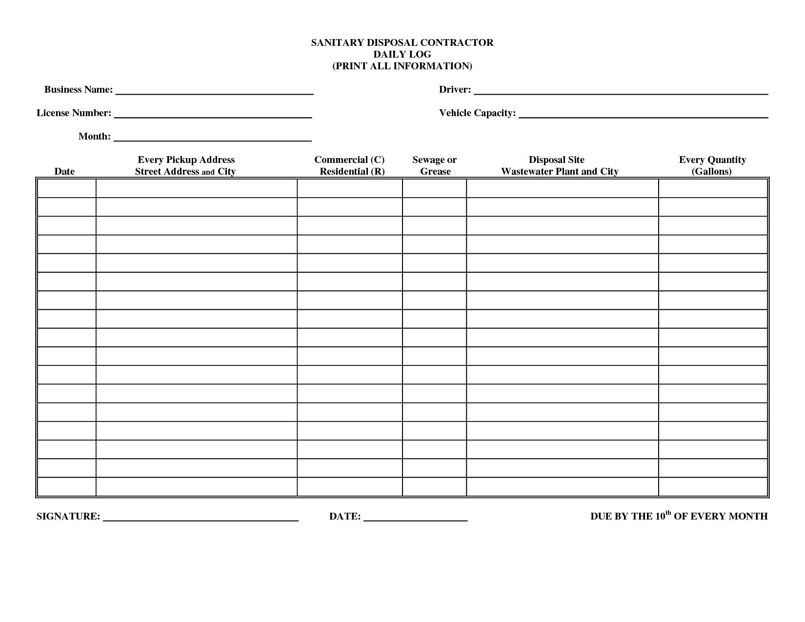 Job Log Template. daily log printable editable blank. 11 exercise ...
