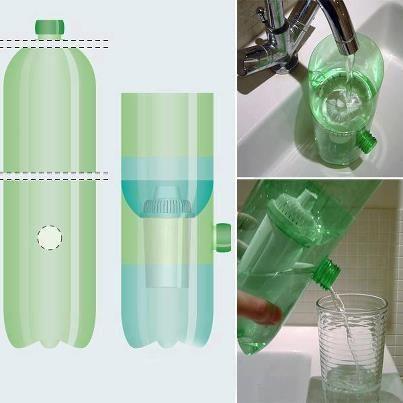 Filtro portátil feito com garrafa PET. Bem fácil de fazer