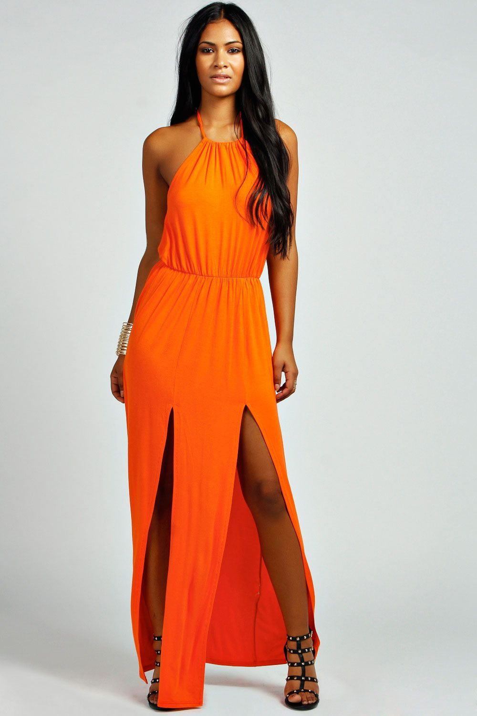 93e9ea678a7 Serena Bagged Over Double Split Maxi Dress stunning colour