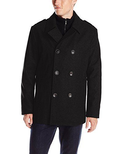16930b1c55 Kenneth Cole REACTION Men's Classic Peacoat with Bib and Epaulettes ...