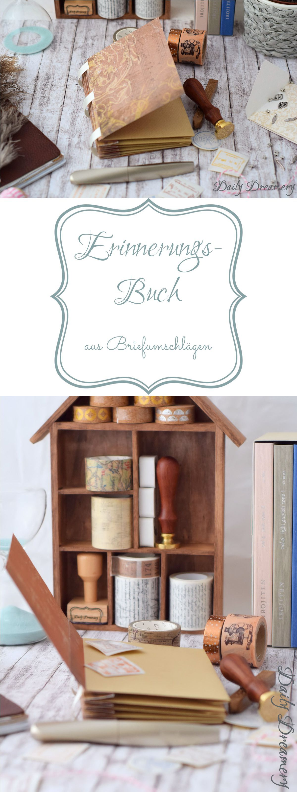 scrapbooking idee erinnerungsbuch aus briefumschl gen diy ideen auf deutsch pinterest. Black Bedroom Furniture Sets. Home Design Ideas