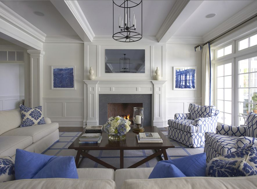 Lynn Morgan Design Blue And White Living Room Farm House Living