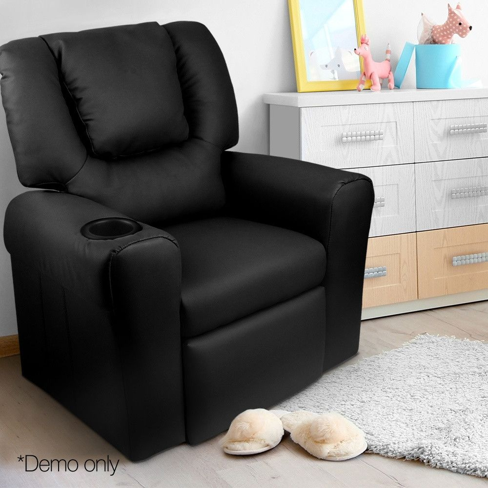 Artiss Kids Pu Leather Reclining Armchair Black Kids Recliner