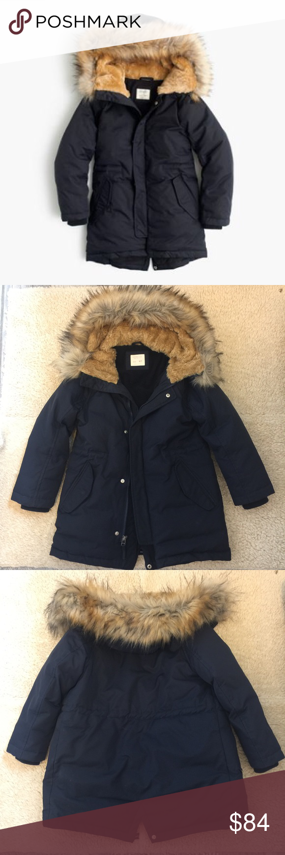 Crewcuts Fishtail Parka Get ready for next winter with this fishtail parka! The parka for any cold-weather adventure—this fleece-lined puffer parka has a fill power of 450, meaning it's really warm. This is in like new condition: not one stain or tear. Zipper works perfectly as well. Also has thumb holes in cuffs. I hate that my son has outgrown this!!! He had gotten SO MANY compliments on it. Color Navy. Size 6/7. Get it before it's gone! J. Crew Jackets & Coats