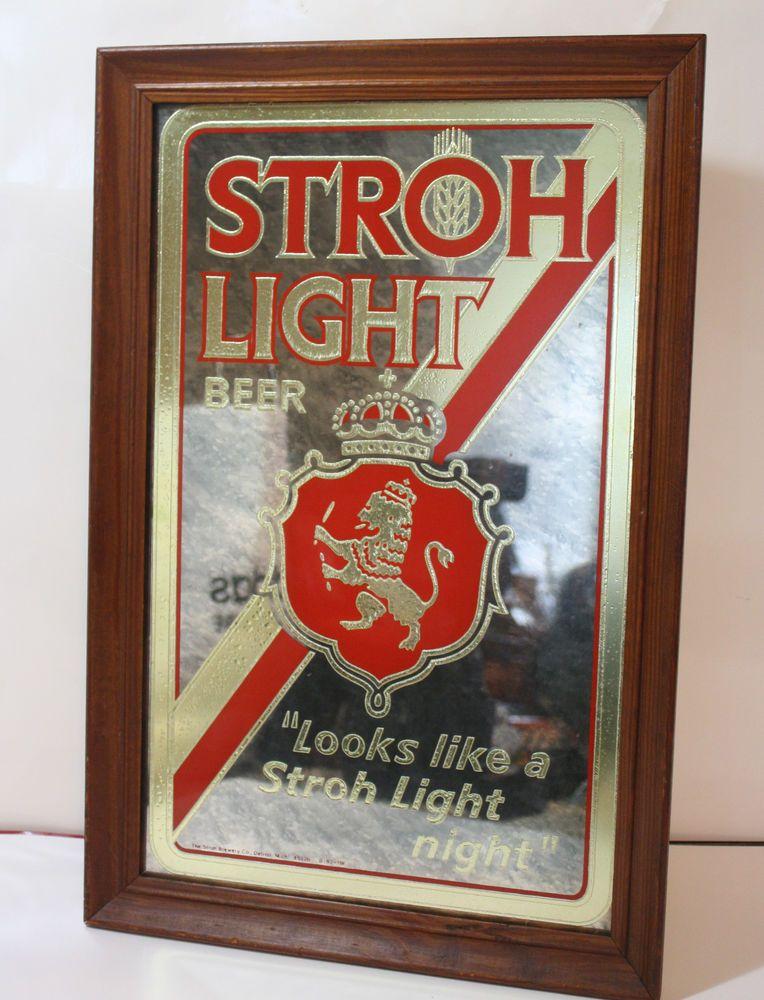 Vintage stroh light beer mirror sign bar den 14 x 21h man cave vintage stroh light beer mirror sign bar den 14 x mozeypictures Images