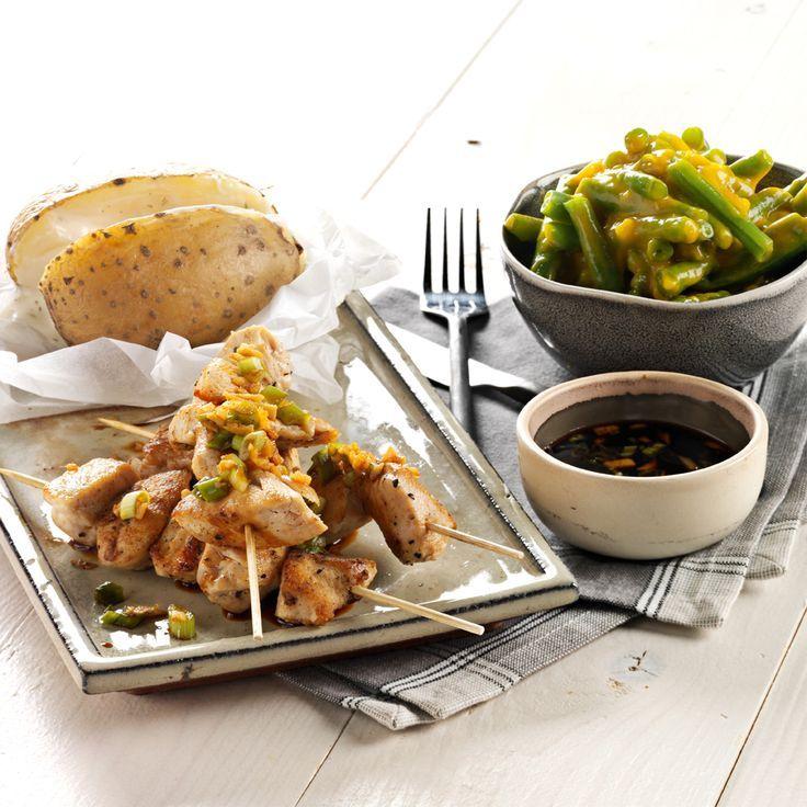 Recept week 28: Gegrilde kipspiezen met een zoetzure chutney van sperziebonen