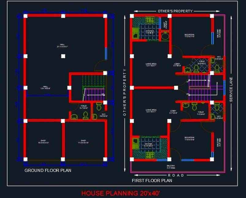 Autocad Drawing Of A House Plan Of Plot Size 20 X40 It Is Designed On Two Floors 20x40 House Plans House Plans Architectural Floor Plans