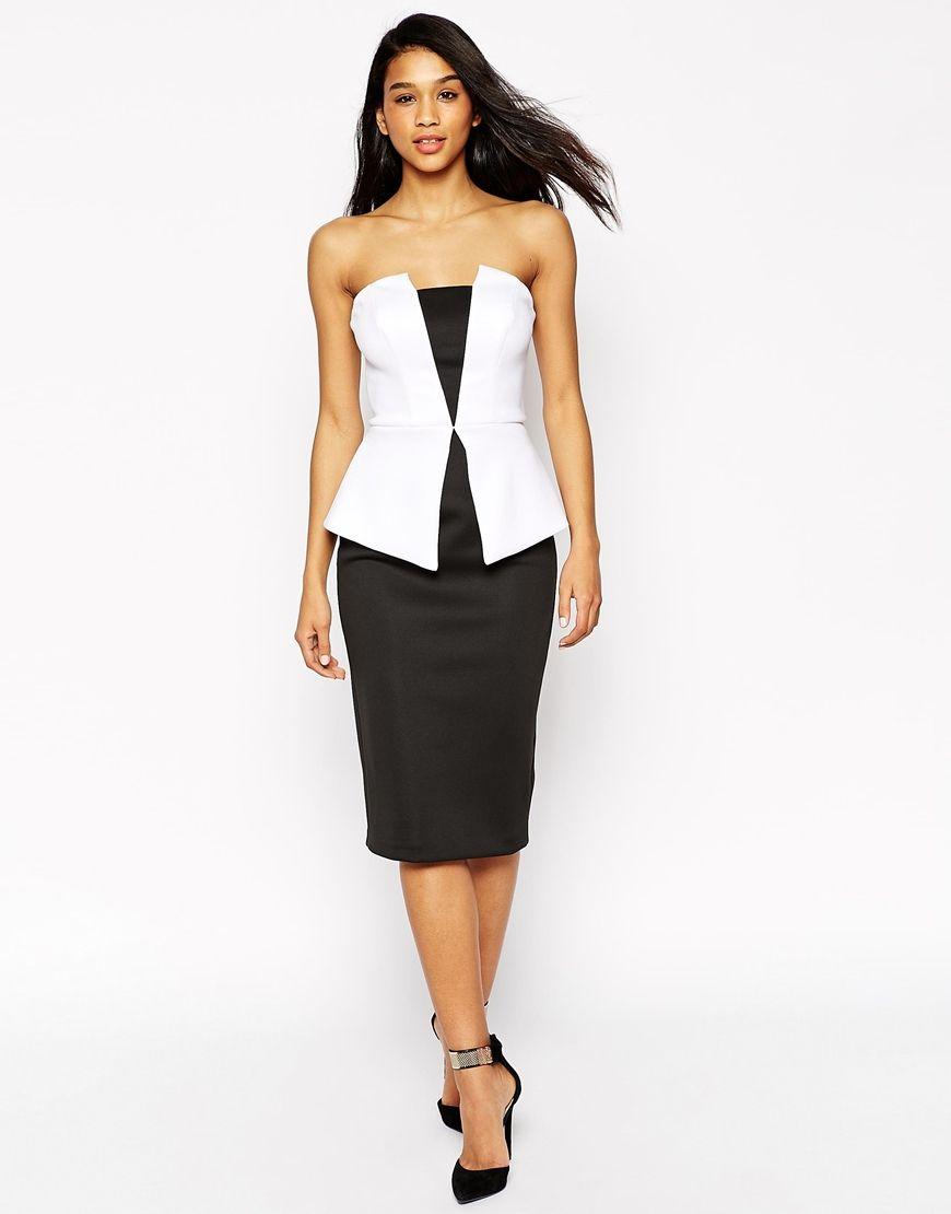 ASOS Premium Mono Peplum Midi Dress   Add to Closet   Kleider ... 1bf6ade11a
