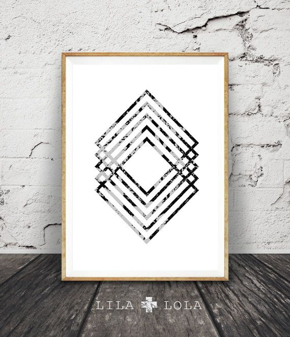 Modern Minimal Wall Art Black and White Print by lilandlola diy