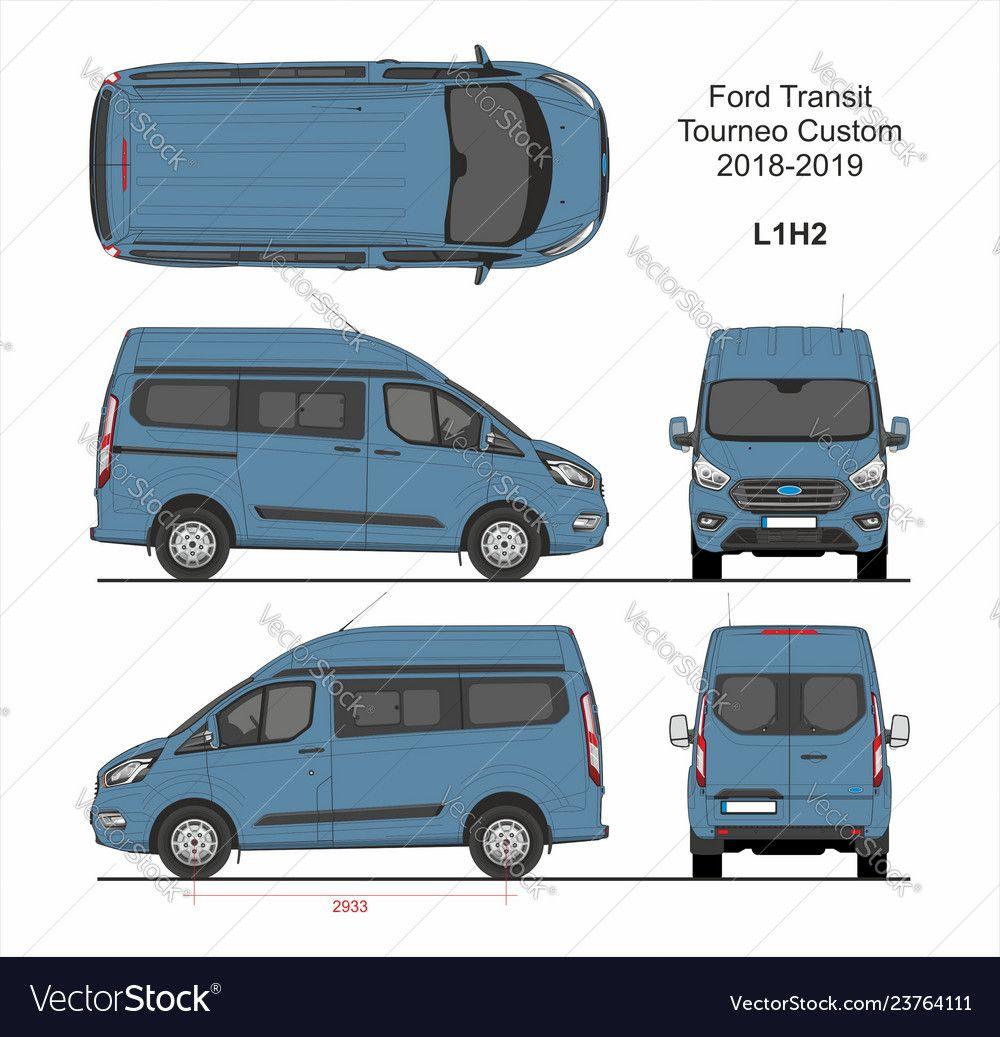 Ford Transit Tourneo Custom Van L1h2 2018 2019 Vector Image On Vectorstock Ford Transit Ford Transit Custom Camper Transit Custom
