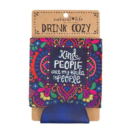 """""""Kind People"""" Can Cozy - This 100% neoprene can cozy is sure to stand out at your next BBQ or beach day! Keep your drink cold and you inspired with bright colors and the sweet sentiment, """"Kind people are my kinda people."""" Perfect for party favors or wedding gifts!"""