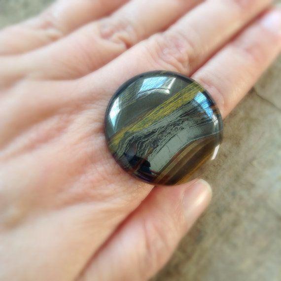 Tiger Iron Ring Round Stone Ring Cocktail Ring by TesoroDelSol
