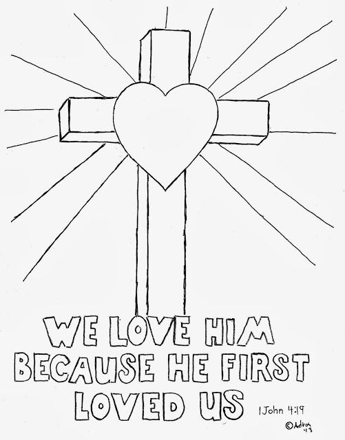 Cross Coloring Picture, We love him Because He First Loved