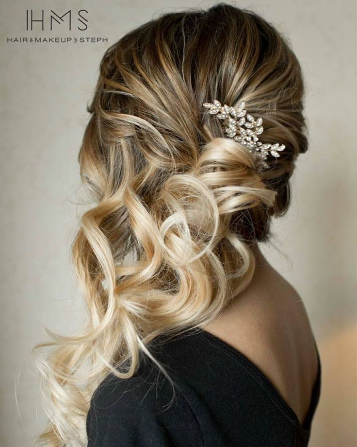 Wedding Hair With Flowers Jewels Side Swept Hair Hair Styles Long Hair Styles Bridal Hair Inspiration