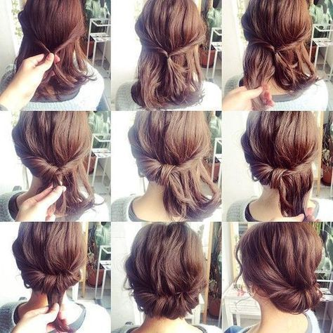 11 Simple Step By Step Updo Tutorials For Beginners Hair Wrap Tutorials Beginners In 2020 Hairdo For Long Hair Medium Length Hair Styles Short Hair Bun